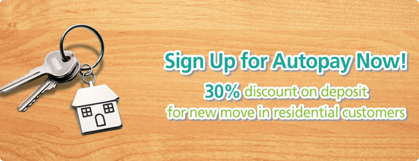 30% discount on deposit for new move in residential customers.